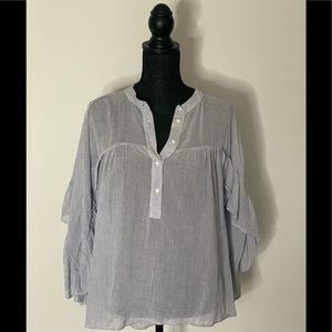 Anthropologie Maeve Ruffle Henley Blouse Sz Large